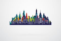 Modern City Retro Skyline Silhouette Stock Images