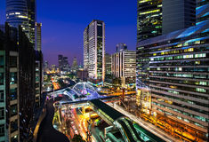 Modern city, Sathon Road, Bangkok, Thailand. Royalty Free Stock Photos