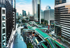 Modern city, Sathon Road, Bangkok, Thailand. Royalty Free Stock Image