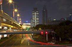 Modern city Shanghai night Stock Photos