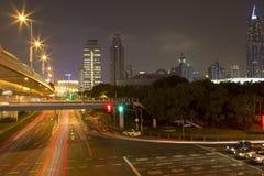 Modern city Shanghai night Stock Images