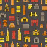 Modern city silhouettes seamless pattern Stock Images