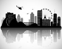 Modern City Skyline Design. Vector silhouette Royalty Free Stock Image