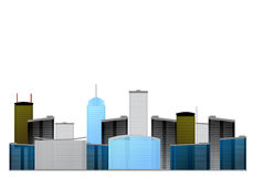 Modern city skyline drawing Royalty Free Stock Image