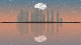 Modern City Lit by Colorful Light Effects.  Animation Concept for colorful vibrant skyline city, full moon stock video