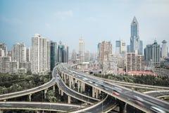 Modern city skyline with interchange overpass Royalty Free Stock Photo