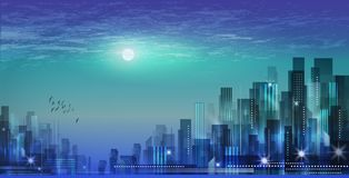 Modern night city skyline in moonlight or sunset, with cloudy sk. Modern city skyline at night Stock Image