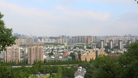 Modern city skyline and office buildings in Hangzhou stock video footage