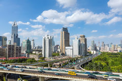 Modern city skyline and transportation Stock Images