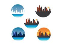Modern city skyline vector landscape. Illustration stock illustration