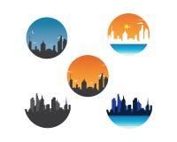 Modern city skyline vector landscape. Illustration royalty free illustration