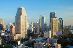 Modern city and skyscraper view of Bangkok, Thailand in the morn Stock Photo