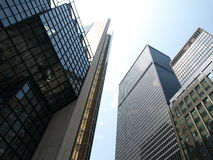 Modern City Skyscrapers. A selection of modern corporate skyscrapers on a clear day stock photos