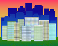 A modern city with skyscrapers. American apartment royalty free illustration