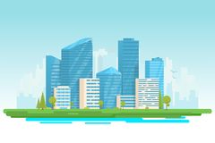 Modern city with skyscrapers. City buildings vector illustration. Small building, big skyscrapers and large city tall skyscrapers on background. Urban street Stock Photos