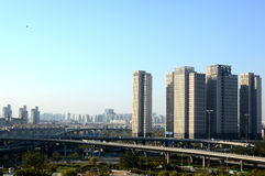 Modern city. With skyscrapers and flyover Tianjin China Royalty Free Stock Images