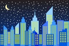 Modern City Skyscrapers Skyline In Night Stock Photos