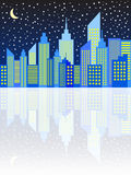 Modern City Skyscrapers Skyline In Night Stock Images