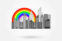 Modern City Skyscrapers Skyline With Rainbow Stock Photography