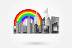 Modern City Skyscrapers Skyline With Rainbow royalty free illustration