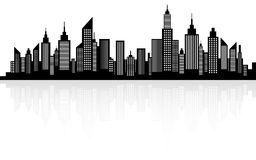 Modern City Skyscrapers Skyline Silhouette Royalty Free Stock Images
