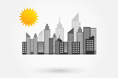 Modern City Skyscrapers Skyline With Sun Stock Photography
