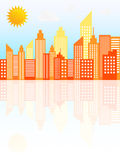 Modern City Skyscrapers Skyline On Sunny Day. Vector Illustration Stock Photography