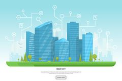 Modern city with skyscrapers. Smart city vector illustration. Small building, big skyscrapers and large smart city tall skyscrapers on background. Urban street Stock Images