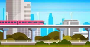 Modern City Skyscrapers View Cityscape Panorama With Subway Train Urban Background vector illustration