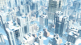 Modern city at snowfall winter day aerial view Stock Photos