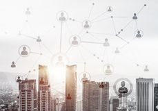 Modern city and social net as concept for global networking stock photo