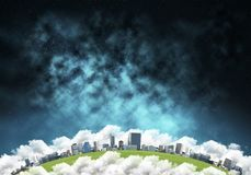 Modern city space view. Abstract panoramic view at planet Earth in clouds with buildings and aerostats from space. Dark space haze on background Royalty Free Stock Image