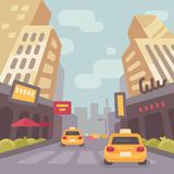 Modern city street with taxi cars and skyscrapers. Vintage travel poster. Modern city street with taxi cars and skyscrapers low perspective view. Vintage travel vector illustration