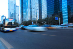 Modern city street with vehicle motion blur Stock Photo
