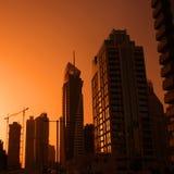 Modern city. Sunset over modern city, silhouette Stock Photography
