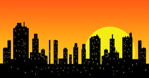 Modern city at sunset Stock Image
