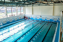 Modern city swimming pool with six Royalty Free Stock Photo