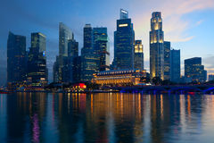 Modern city Syngapore with skyscrapers at sunset Royalty Free Stock Photography