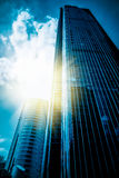 In modern city of tall buildings Royalty Free Stock Photos