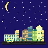 Modern city with tall houses and skyscrapers at night. Cityscape of road and cars under starry sky with moon. Skylines vector. Royalty Free Stock Photo