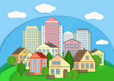 Modern city town cardboard landscape. Paper color style urban city vector illustration. Stock Photos