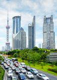 Modern city traffic on Century Avenue in downtown of Shanghai Royalty Free Stock Images