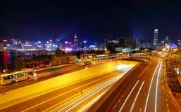 Modern city traffic at night Stock Photo