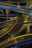 Modern city traffic road at night. Transport junction. Royalty Free Stock Photos