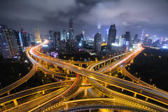 Modern city traffic road at night. Transport junction. Stock Photography
