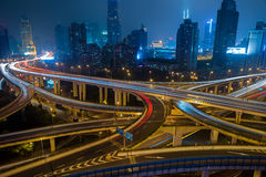 Modern city traffic road at night. Transport junction. Modern city traffic road at night. Junction Stock Photos