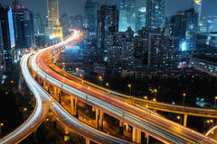 Modern city traffic road at night. Transport junction. Stock Photo