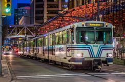 City train at downtown Calgary stock photography