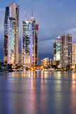 Modern city at twilight (gold coast, australia) Stock Photo