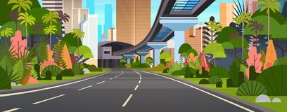 Modern City View Horizontal Banner Highway Road With Skyscrapers And Railway. Vector Illustration Stock Photo
